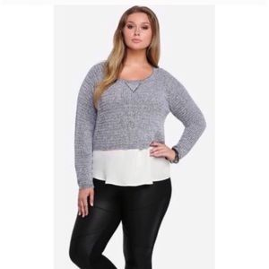 Torrid Gray Marled Cropped Knit Sweater Top